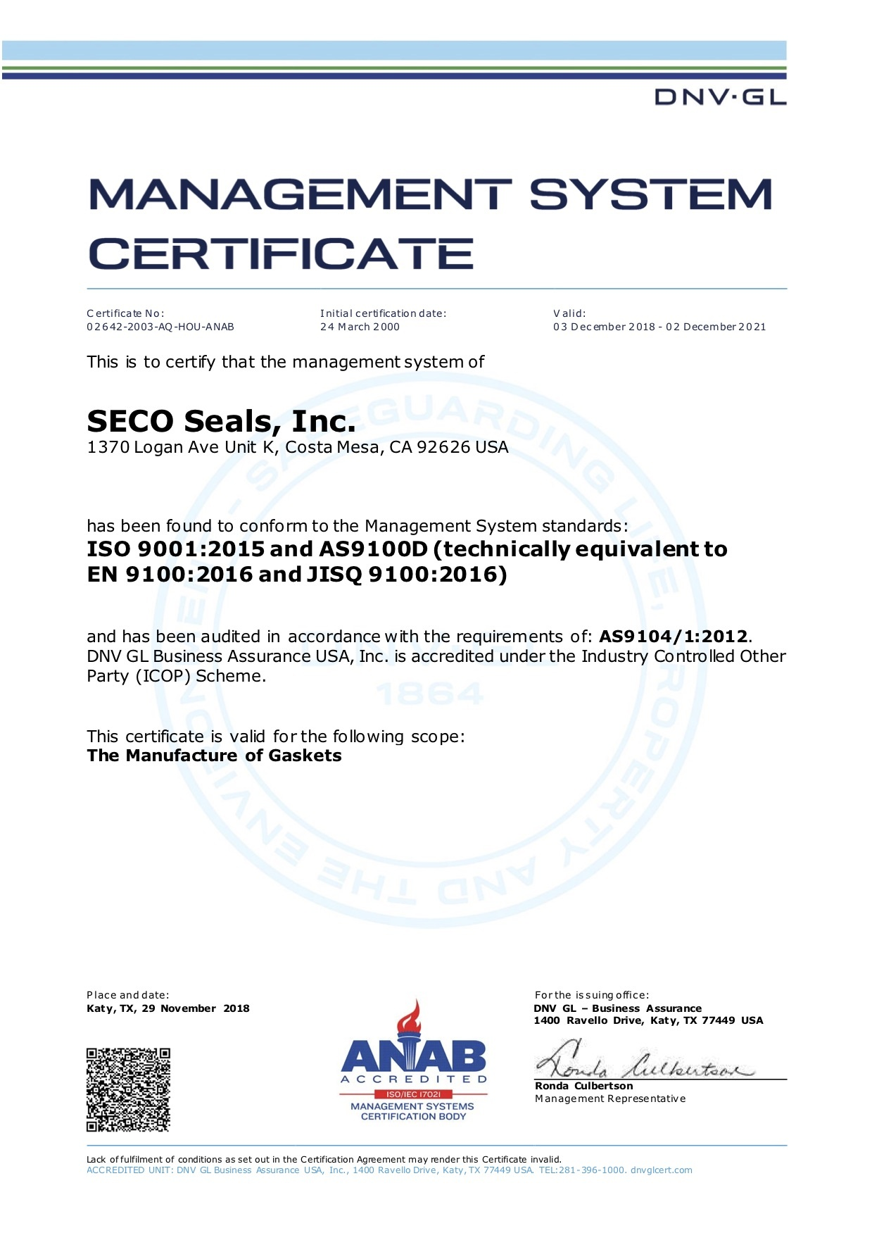 ISO 9001:2015 and AS9100D Certificate (technically equivalent to EN 9100:2016 and JISQ 9100:2016)